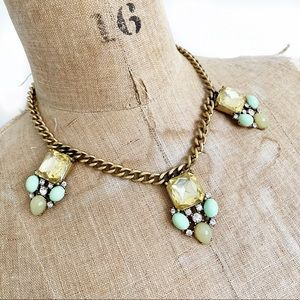 J CREW  jade and yellow crystal statement necklace
